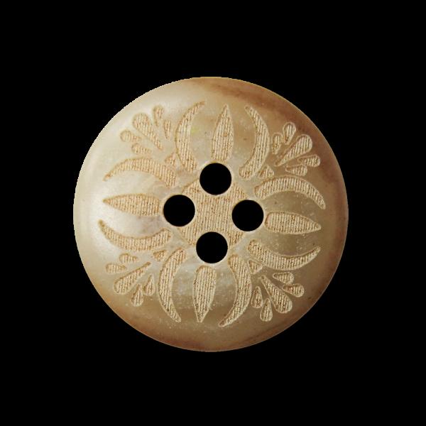 Hellbrauner Vierloch Knopf mit folkloristischem Muster