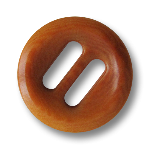 Braun gemaserter echter Steinnuss Knopf mit Schlitzen