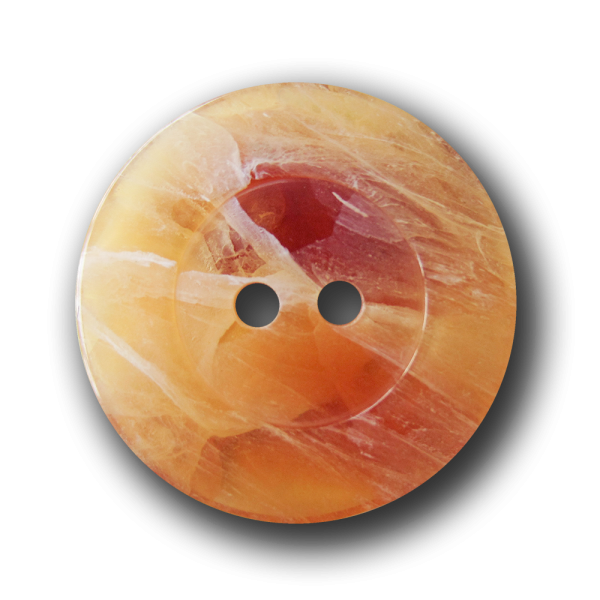 Melierter Zweiloch Knopf in edler Orangen Calcit Optik