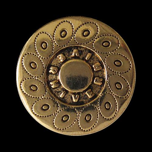 www.Knopfparadies.de - 0560ag - Altgoldfarbene Metallknöpfe mit Kreismuster und Schriftzug