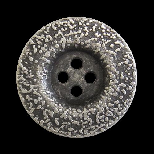 www.knopfparadies.de - 3418as - Altsilberfarbene Metallknöpfe mit vier Löchern