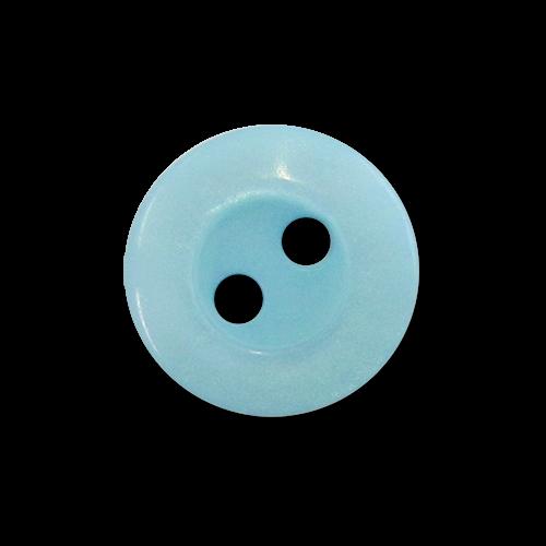 www.Knopfparadies.de - 0496hb - Schöne Zweilochknöpfe aus Kunststoff in Hellblau mit Perlmuttschimmer