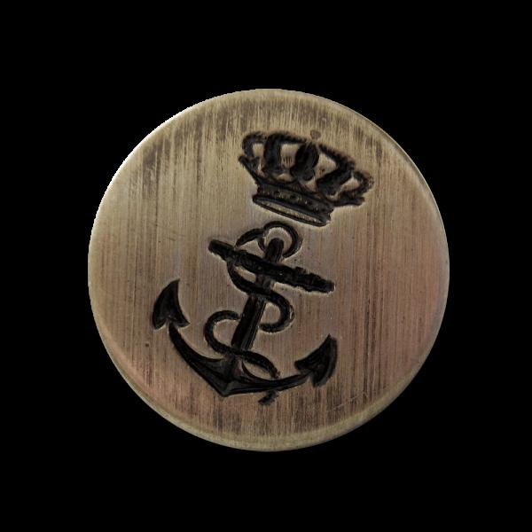www.knopfparadies.de - k745am - Interessante leichte Metallknöpfe, altmessing, mit Anker und Krone