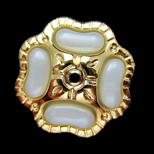 Glamouröser perlmuttartig weiß & goldfb. Schmuck Knopf