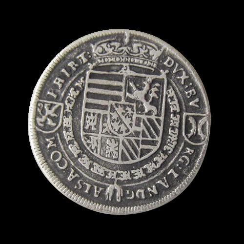 www.Knopfparadies.de - 0160as - Älter wirkende Münzknöpfe aus Metall mit Wappen