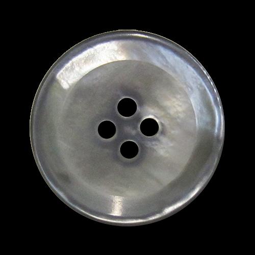 www.knopfparadies.de - 5970pm - Grau schillernde Perlmuttknöpfe mit vier Löchern