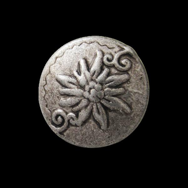 Kleiner gewölbter Metall Ösen Knopf mit Edelweiß Motiv