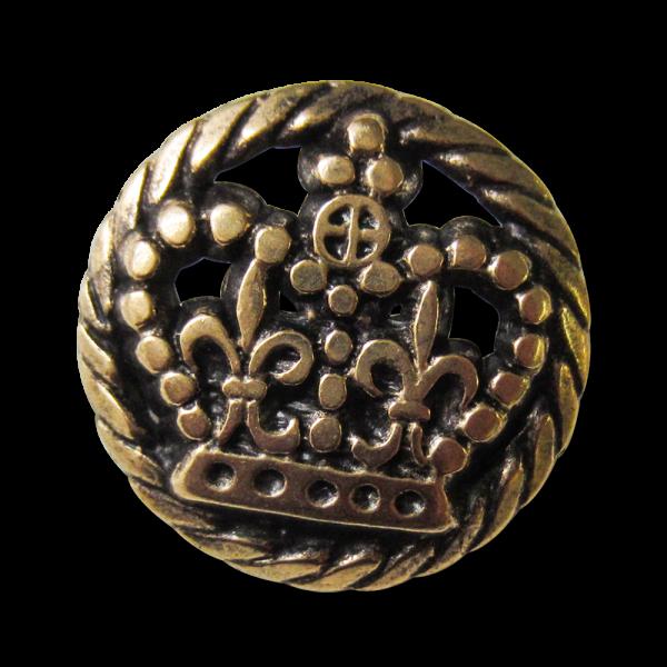 Goldene Metallknöpfe mit Krone - Knopfparadies.de