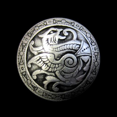 Altsilberfarbene Metallknöpfe mit Drachenmotiv
