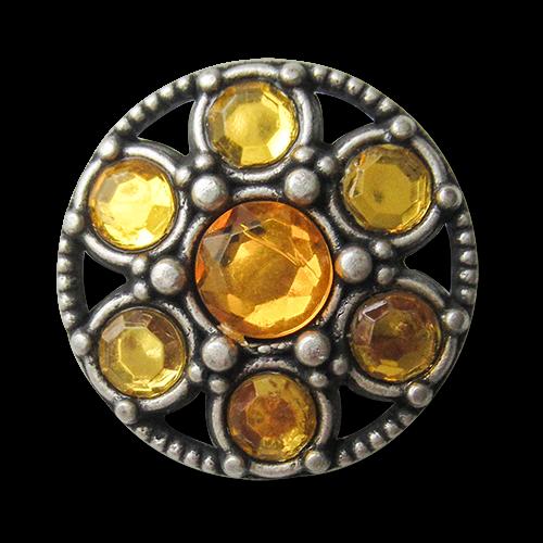 Edler Knopf mit Durchbruch und gelben Schmucksteinen