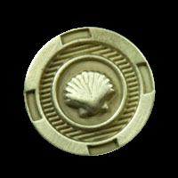 Messingfarbener maritimer Metall Knopf mit Muschel