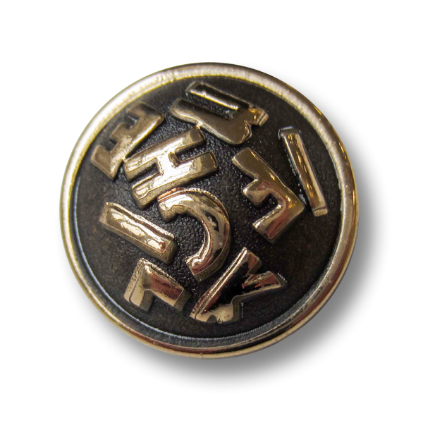 Stark gewölbter Designer Metall Knopf mit Buchstaben