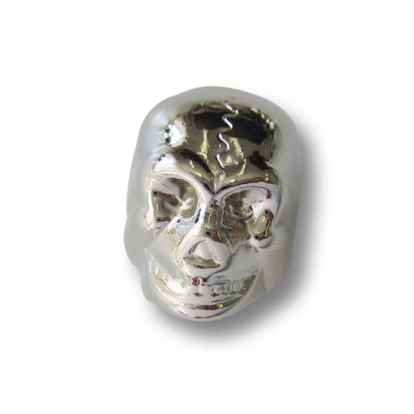 Silberfb. Kordelstopper aus Metall in Totenkopf Form