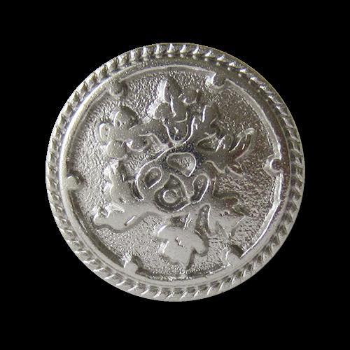 www.Knopfparadies.de - 0576si- Silberne Metallknöpfe mit Blumen Muster