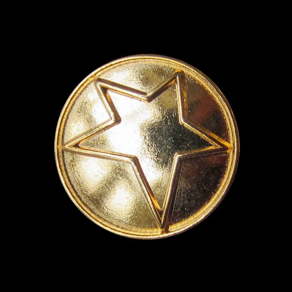 Moderner glänzend goldfb. Ösen Metall Knopf mit Stern