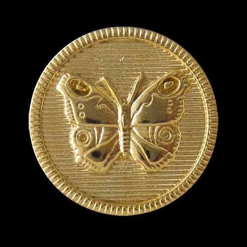 www.Knopfparadies.de - 0233gg - Süße goldene Metallknöpfe mit Schmetterling