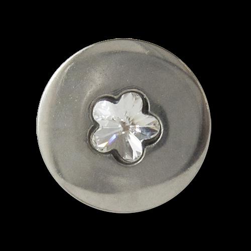 www.knopfparadies.de - 3347si - Süße Glitzerknöpfe mit kleiner Blume