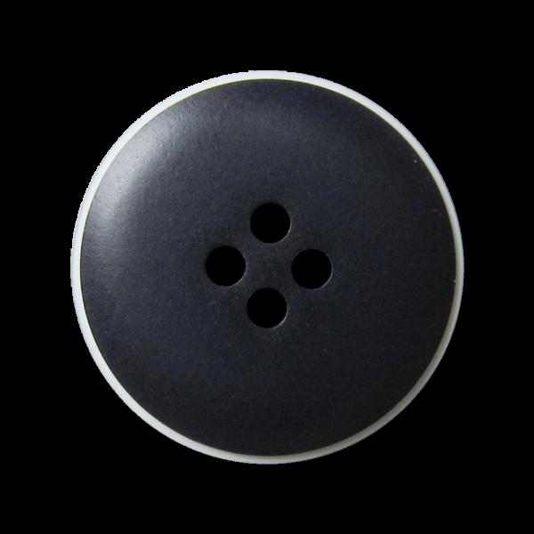 Schlichter dunkelblauer Vierloch Knopf aus Kunststoff mit weißem Rand