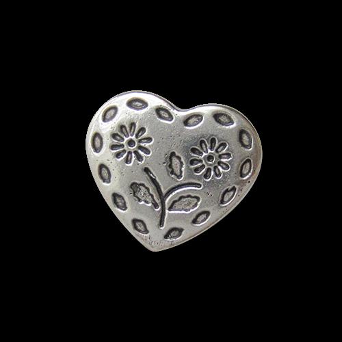 www.knopfparadies.de - 3211sg - Herzförmige Trachtenknöpfe aus Metall