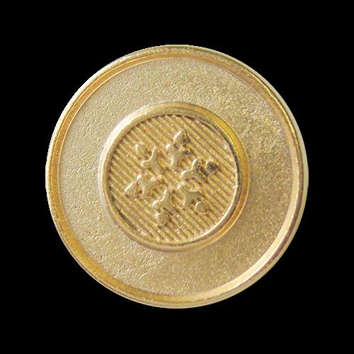 www.Knopfparadies.de - 3380mg - Günstigere gold mattierte Ösenknöpfe aus Metall mit Stern / Schneeflocke