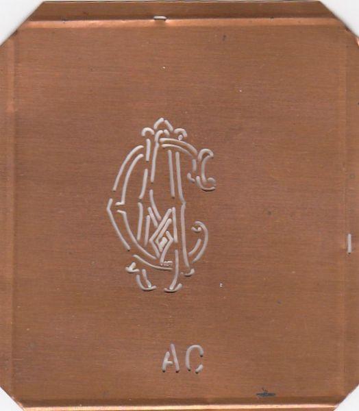 Hübsche uralte Monogrammschablone AC oder CA