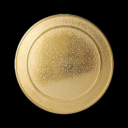 Goldfarbener Metallknopf, schlicht, nur leicht gewölbt