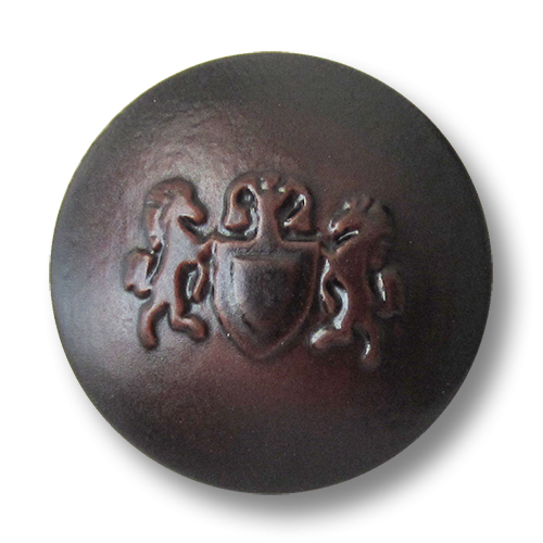 www.Knopfparadies.de - 1670br - Braune Kunststoffknöpfe mit Wappen Motiv wie Lederknöpfe