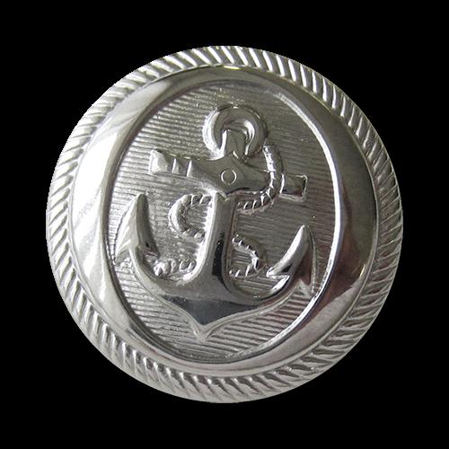 www.knopfparadies.de - f070si - Metallknöpfe (nickelfrei) in glänzend silber mit Motiv: Anker