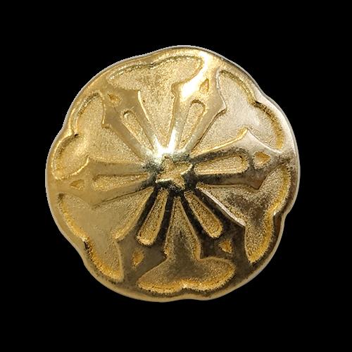 www.knopfparadies.de - 0353go - Goldfarbene Metallknöpfe mit nostalgischem Blütenmotiv