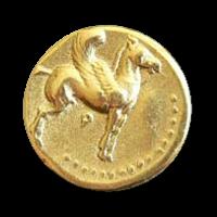 Knopf mit beflügeltem Pferd