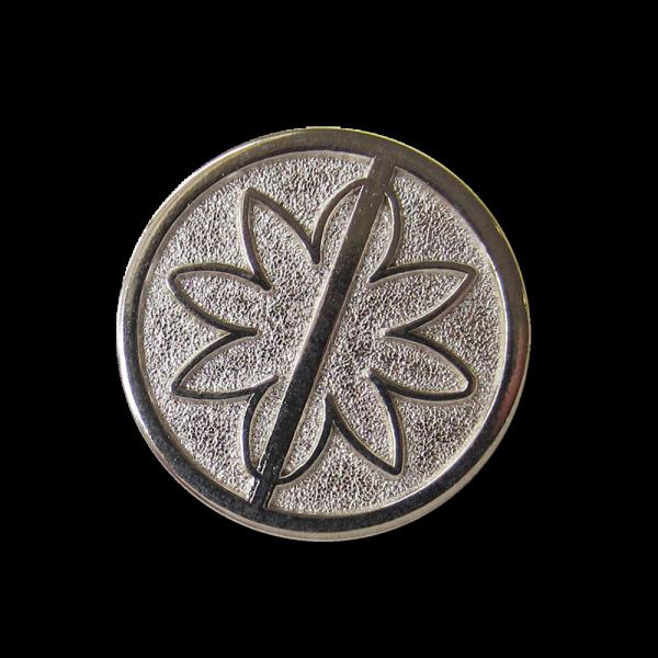Moderner silberfb. Ösen Metall Knopf mit Blumen Motiv