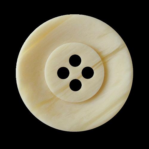 www.Knopfparadies.de - 2718bg - Hell beige marmorierte & schraffierte Vierloch Kunststoffknöpfe