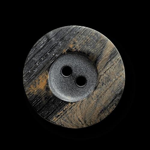 Schwarz braun melierter Kunststoff Knopf in Horn Optik