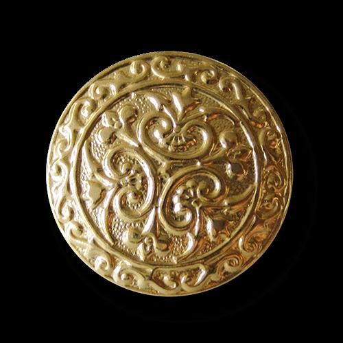 Filigran gemusterter goldfarb. Knopf aus Metallblech