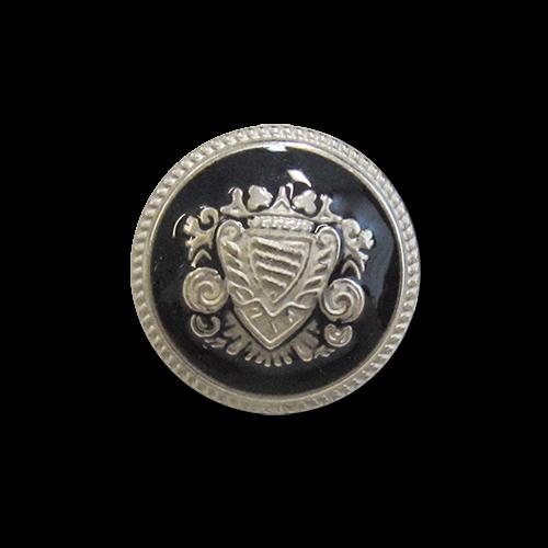www.knopfparadies.de - 5977ss - Schwarz-silberfarbene Metallknöpfe mit Wappenmotiv