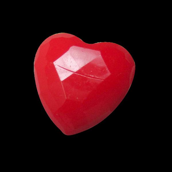 Facettierter roter Kunststoff Knopf in Herz Form / B-WARE