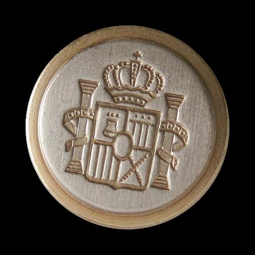 www.knopfparadies.de - 5741gs - Edle Metallknöpfe mit Wappen in Bicolor für Blazer etc.