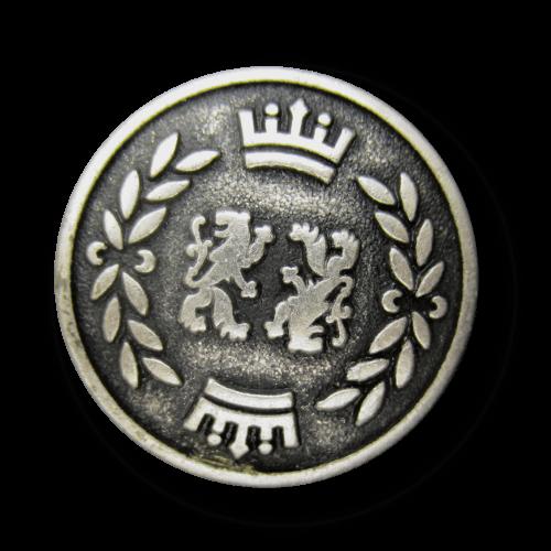 Altsilberfb. Blazerknopf mit Löwe, Krone und Lorbeer