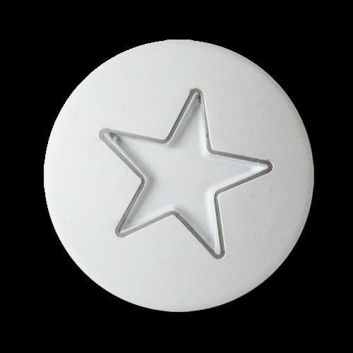 www.Knopfparadies.de - 3270we - Moderne Motivknöpfe aus Metall mit Stern in Weiß & Silber