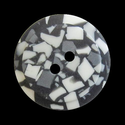 www.Knopfparadies.de - z198sw - Kreative schwarz weiß grau gemusterte Zweilochknöpfe aus Kunststoff