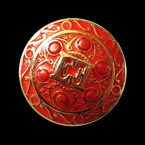 www.knopfparadies.de - y006rg - Sehr attraktive rot-goldfarbene Designerknöpfe