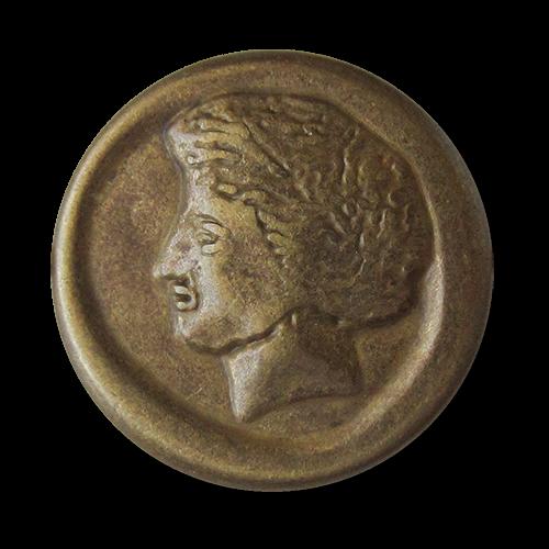 www.Knopfparadies.de - 1581me - Antik wirkende Ösen Metallknöpfe mit Gesicht