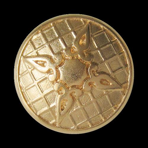 www.Knopfparadies.de - 3157mg - Prunkvolle goldene Ösenknöpfe aus Metall mit Kreuz oder Stern Motiv