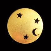 Schöne mattgoldene Metallknöpfe mit Sternen / B-WARE