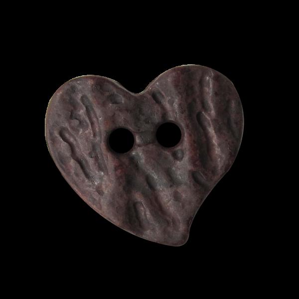 Kleiner zünftiger brauner Herz Knopf für Trachten