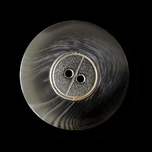 Grau melierter Zweiloch Knopf mit Metall Applikation