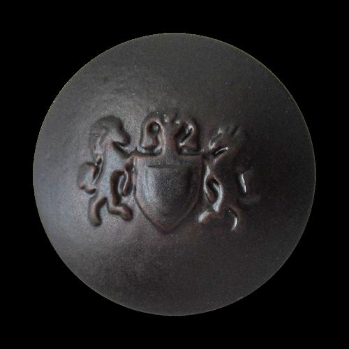 www.Knopfparadies.de - 1670db - Dunkelbraune Kunststoffknöpfe mit Wappen Motiv wie Lederknöpfe