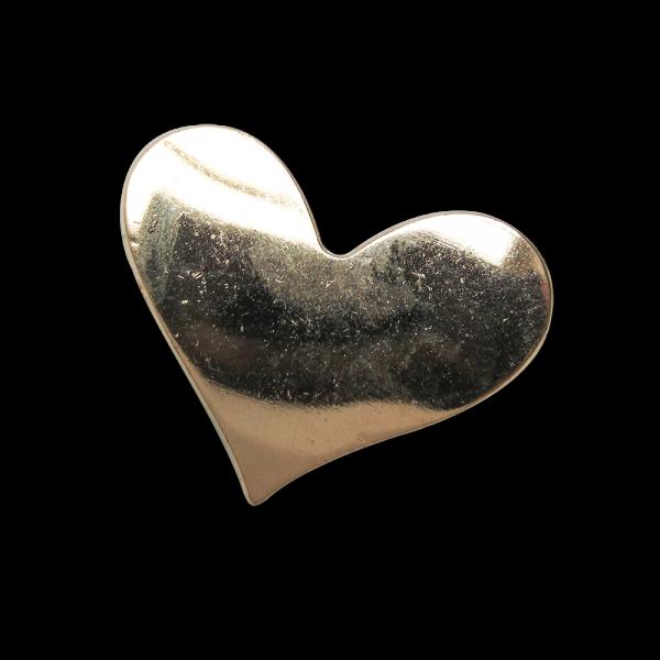 Großer metallic goldfarb. Knopf in Herz Form / B-WARE