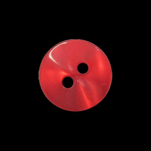 www.Knopfparadies.de - 0497ro - Schimmernde kleine Zweilochknöpfe aus Kunststoff in kräftigem Rot