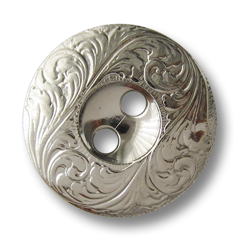 www.knopfparadies.de - 5302si - Silberne Kunststoffknöpfe mit barockem Ranken Muster